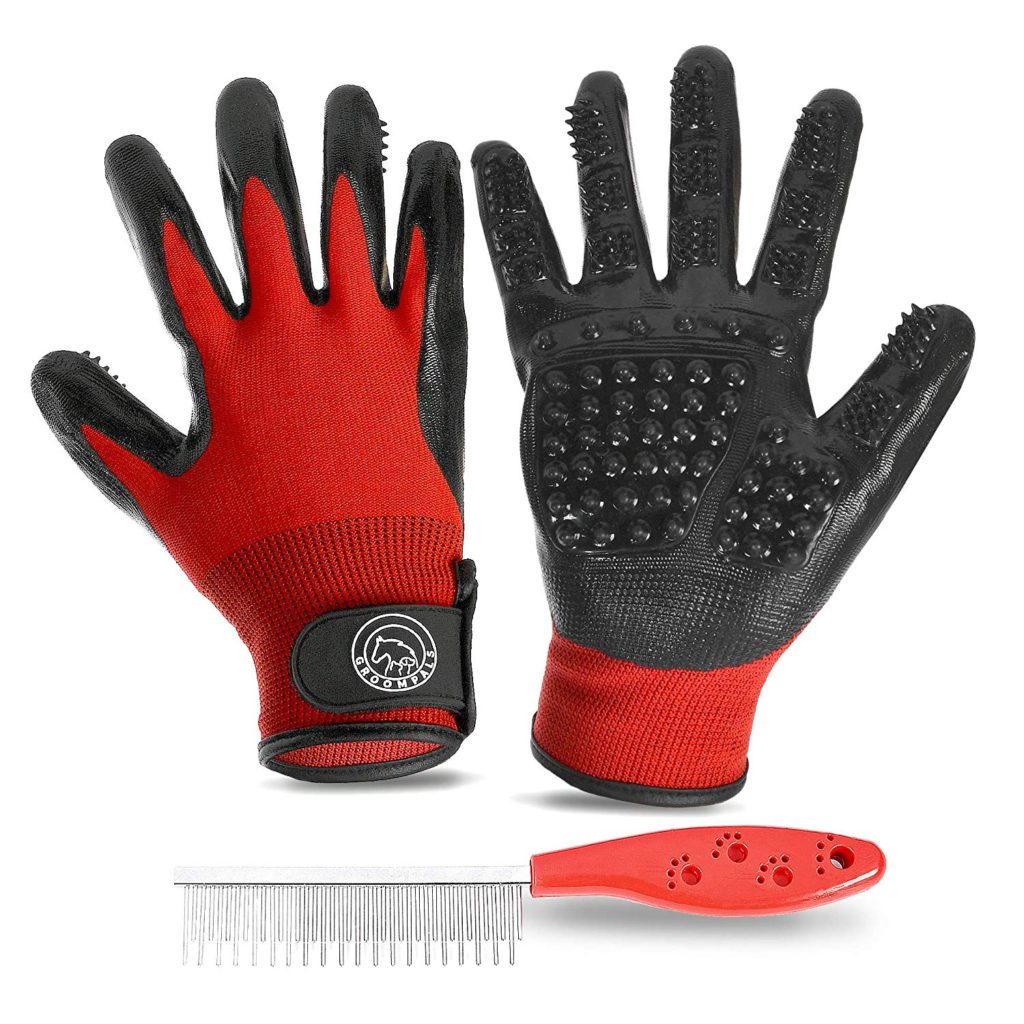 GroomPals 2-Piece Pet Grooming Glove Best Horse Deshedding Tools